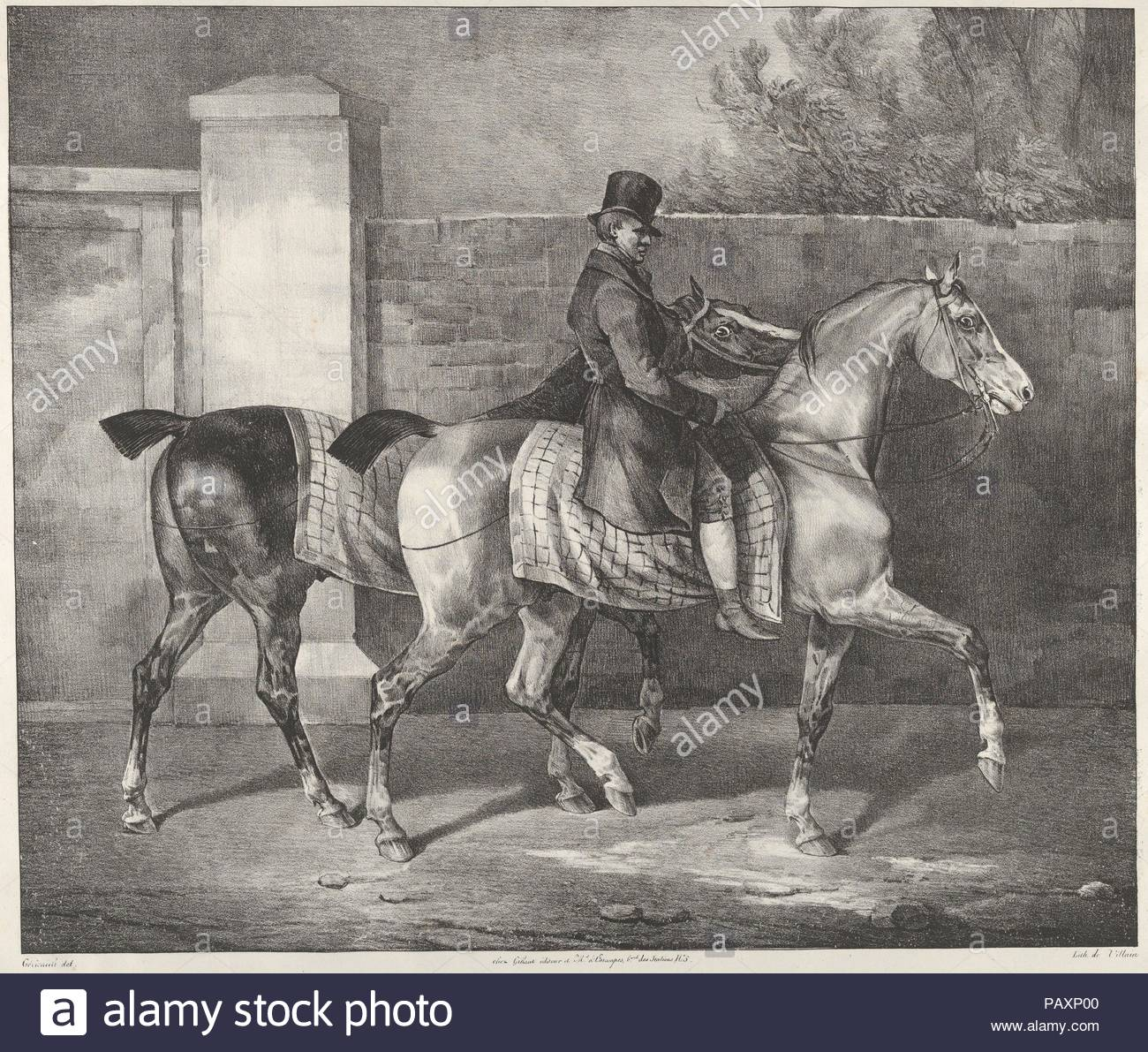 Two Horses Exercised By A Jockey Artist Theodore Gericault French