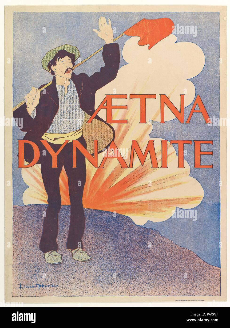 Aetna Dynamite. Artist: Edward Penfield (American, Brooklyn, New York 1866-1925 Beacon, New York). Dimensions: Sheet: 18 13/16 × 14 3/16 in. (47.8 × 36 cm)  Image: 18 1/16 × 13 1/4 in. (45.8 × 33.6 cm). Printer: The Poster Art Press. Publisher: Aetna Powder Company. Date: 1895. Museum: Metropolitan Museum of Art, New York, USA. - Stock Image