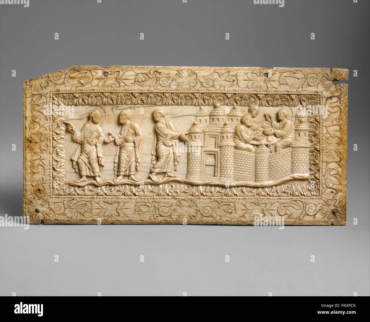 Plaque with Scenes at Emmaus  Culture: Carolingian  Dimensions