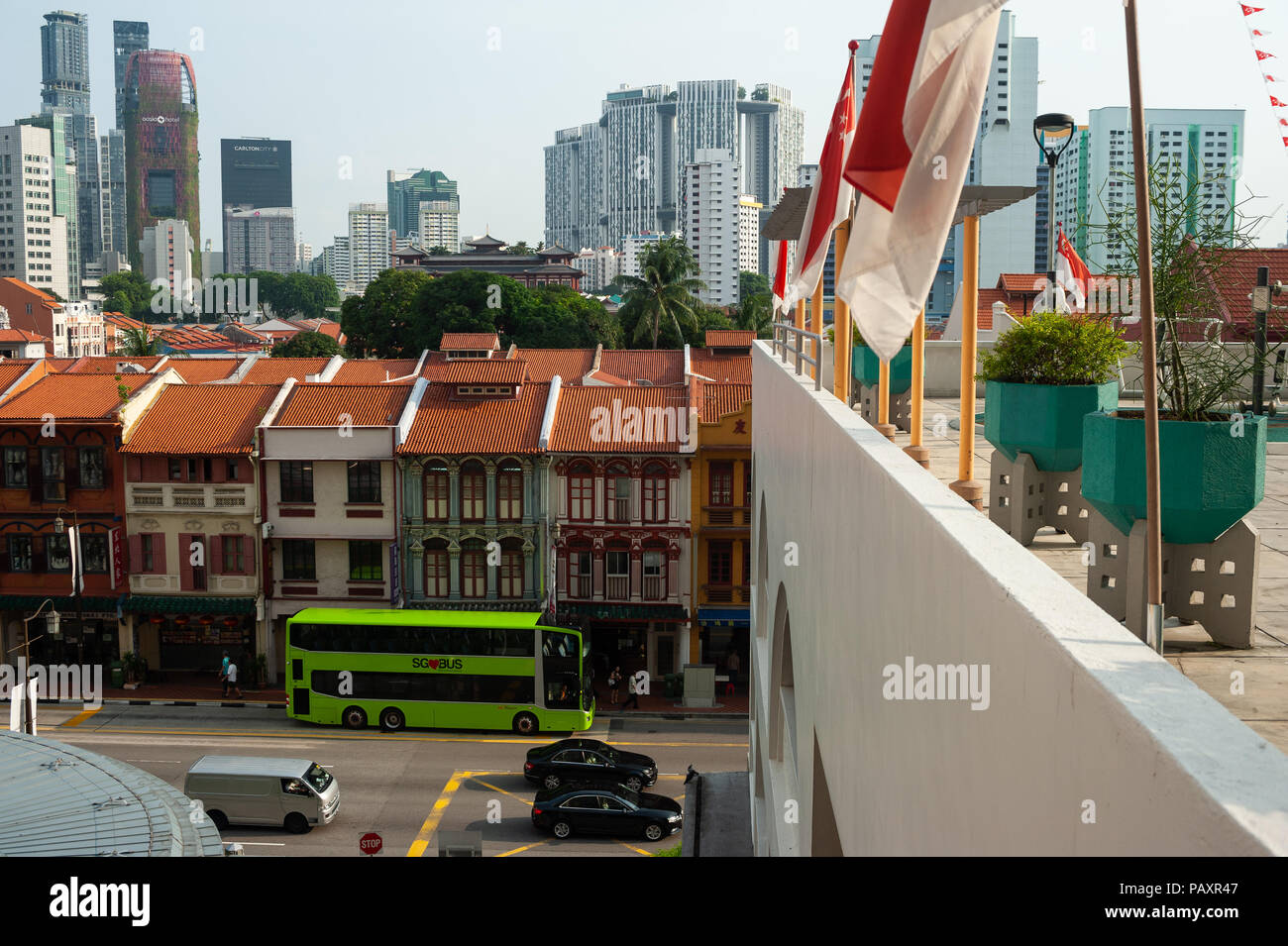 19.07.2018, Singapore, Republic of Singapore, Asia - An elevated view of traditional shophouses in Singapore's Chinatown district. - Stock Image