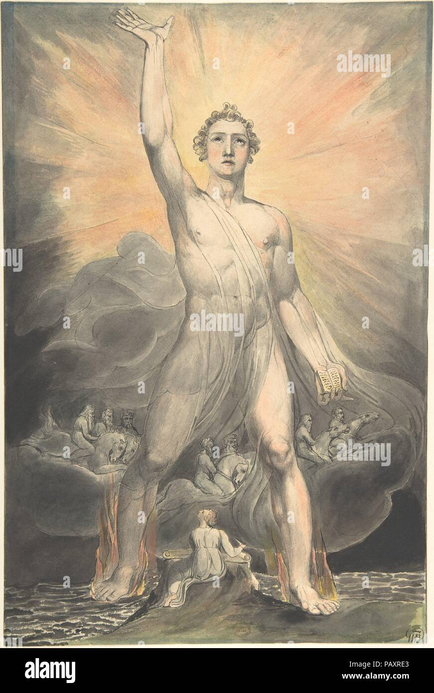 Angel of the Revelation (Book of Revelation, chapter 10). Artist: William Blake (British, London 1757-1827 London). Dimensions: Sheet: 15 7/16 × 10 1/4 in. (39.2 × 26 cm). Date: ca. 1803-5.  This work comes from a series of eighty biblical watercolors that Blake made for Thomas Butts, an important patron. He found the subject in chapter 10 of the book of Revelation and describes both the author and his vision. A diminutive Saint John, pen in hand, on the island of Patmos, gazes at a 'mighty angel . . . clothed with a cloud . . . a rainbow was upon his head, and his face was as it were the sun, - Stock Image