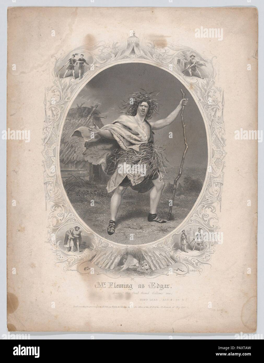 Mr. Fleming as Edgar: 'Away! the foul fiend follows me' (King Lear, Act 3, Scene 4). Artist: After Frederick A. Chapman (American, 1818-1891). Dimensions: Sheet: 11 1/8 × 8 9/16 in. (28.2 × 21.7 cm). Engraver: Samuel Hollyer (American, 1826-1919). Publisher: Martin & Johnson, New York. Sitter: William Maybury Fleming (American, 1817-1866). Subject: William Shakespeare (British, Stratford-upon-Avon 1564-1616 Stratford-upon-Avon). Date: 1855. Museum: Metropolitan Museum of Art, New York, USA. - Stock Image