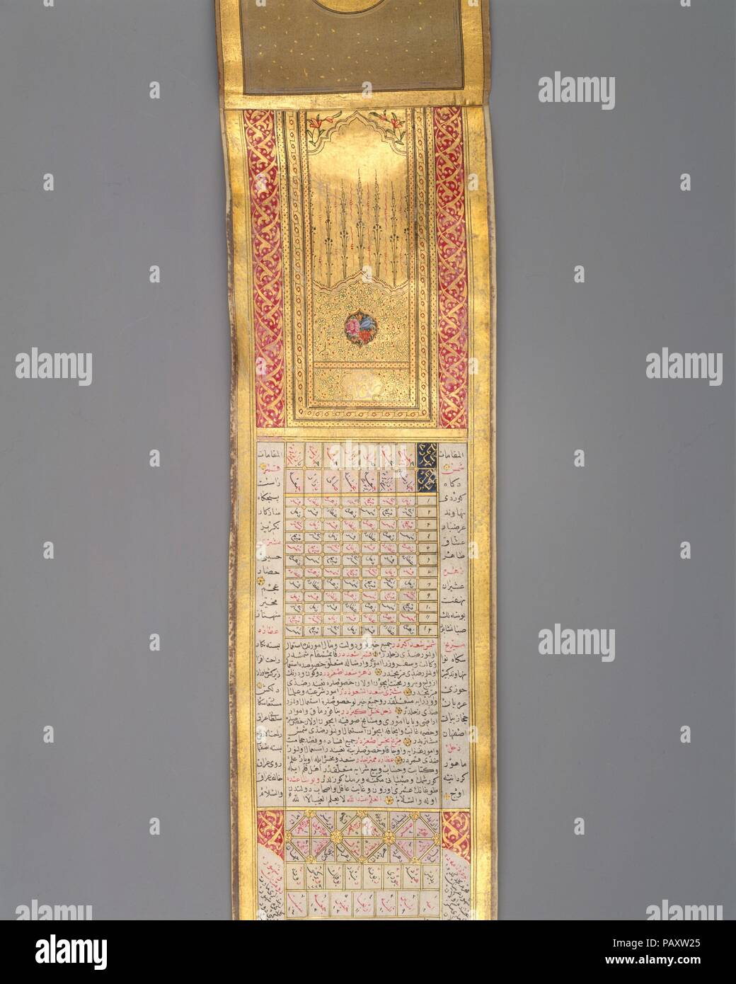 Illuminated Codices Stock Photos Images Stambul Qur An Mini 30 Juz Calendar Almanac In Scroll Form Calligrapher Signed And Dated By Katib Muhammad Ma