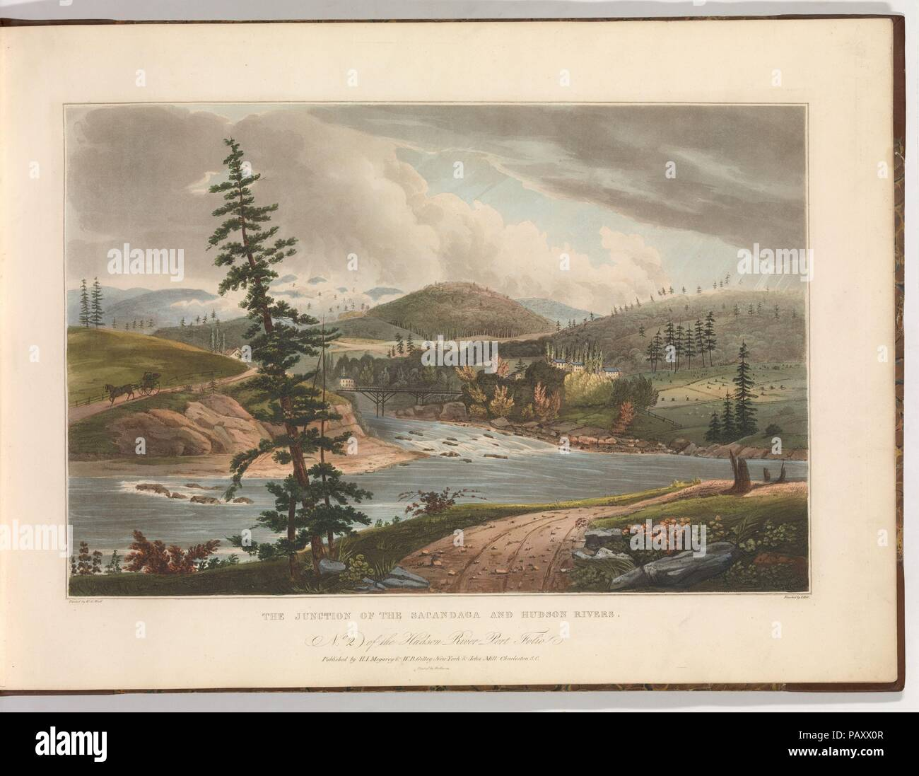 Junction of the Sacandaga and Hudson Rivers (No. 2 of The Hudson River Portfolio). Artist: after William Guy Wall (Irish, Dublin 1792-after 1864 Ireland (active America)). Dimensions: Image: 14 1/16 x 20 3/16 in. (35.7 x 51.3 cm)  Sheet: 19 x 24 1/2 in. (48.3 x 62.2 cm). Etcher: John Hill (American (born England), London 1770-1850 Clarksville, New York). Printer: William and Charles Rollinson (American, active ca. 1808-33). Publisher: Henry J. Megarey (American, 1818-1845 New York); W. B. Gilley (New York, NY); John Mill (Charleston, South Carolina). Series/Portfolio: The Hudson River Portfoli - Stock Image