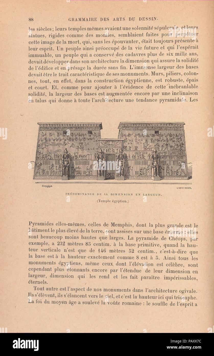 """Grammaire des arts du dessin : architecture, sculpture, peinture. Author: Charles Blanc (French, Castres 1813-1882 Paris). Dimensions: 691 pages : illustrations, color plate, diagrams ; Height: 11 in. (28 cm). Illustrator: Léon Gaucherel (French, Paris 1816-1886). Date: 1876.  3rd edition ; Continued by the author's """"Grammaire des arts décoratifs"""", in 2 parts (pt. 1: L'art dans la parure et dans le vêtement ; pt. 2: Décoration intérieure de la maison). Museum: Metropolitan Museum of Art, New York, USA. Stock Photo"""
