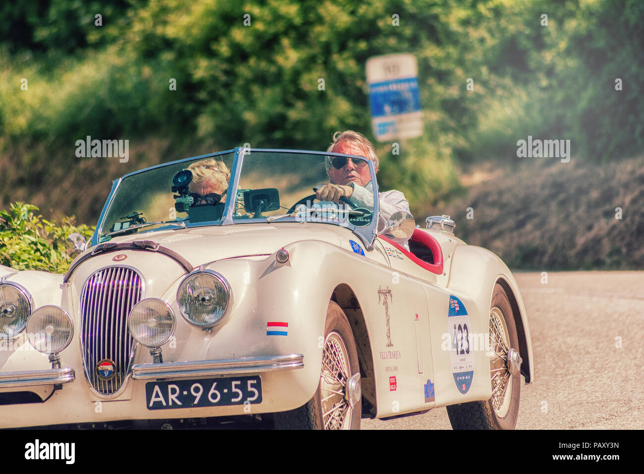 PESARO COLLE SAN BARTOLO , ITALY - MAY 17 - 2018 : JAGUAR XK 120 OTS1954 old racing car in rally Mille Miglia 2018 the famous italian historical race - Stock Image