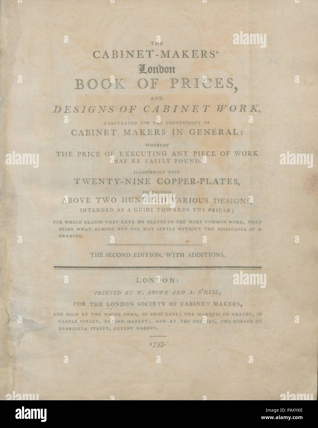 The cabinet-makers' London book of prices, and designs of cabinet work, calculated for the convenience of cabinet makers in general, whereby the price of executing any piece of work may be easily found. Author: London Society of Cabinet Makers. Dimensions: xvi, 266, 24 pages, 29 leaves of plates, height: 10 5/8 in. (27 cm). Printer: W. Brown and A. O'Neil (London). Publisher: London Society of Cabinet Makers. Date: 1793.  The first edition of the London Book of Prices (1788) contains twenty engraved furniture designs, three of anonymous authorship and seventeen by Thomas Shearer, a little-know - Stock Image