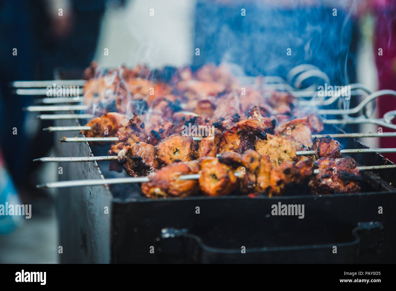 Bbq Chicken Skewers Grilling On A Barbecue On Top Of Charcoal Grill Stock Photo Alamy