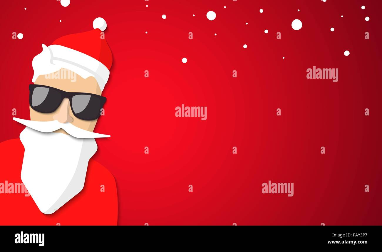 Hipster Santa Claus With Cool Beard And Glasses Merry Christmas