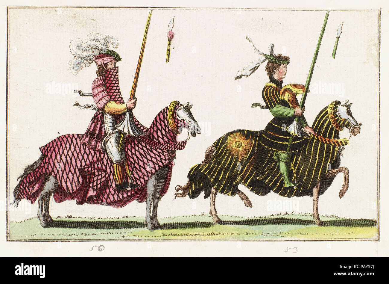Coloured print showing two men at arms in combat - Stock Image