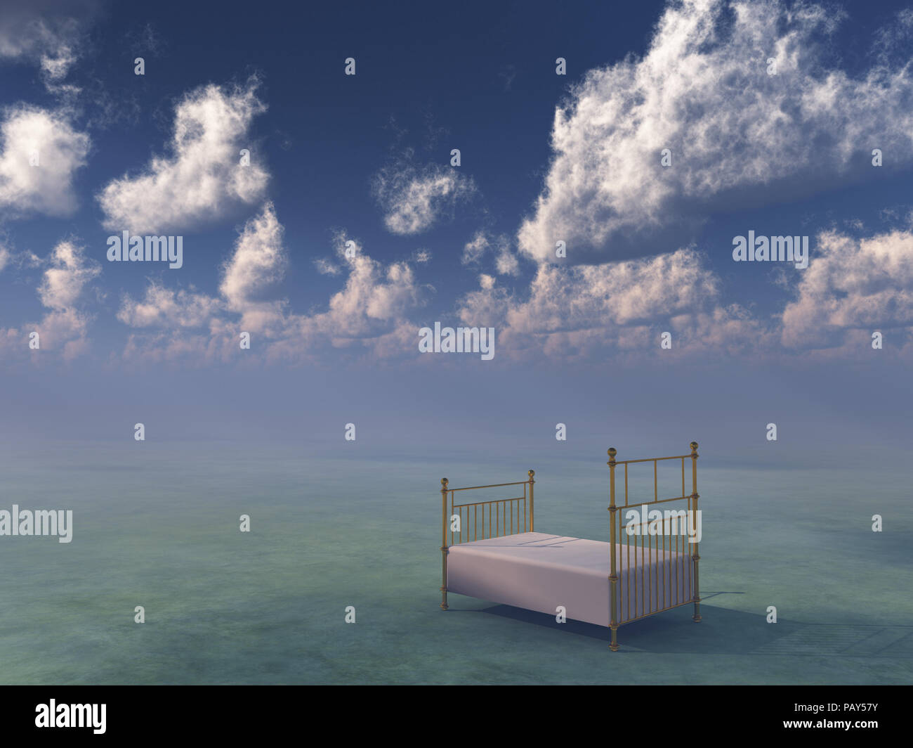 Bed in surreal space. - Stock Image