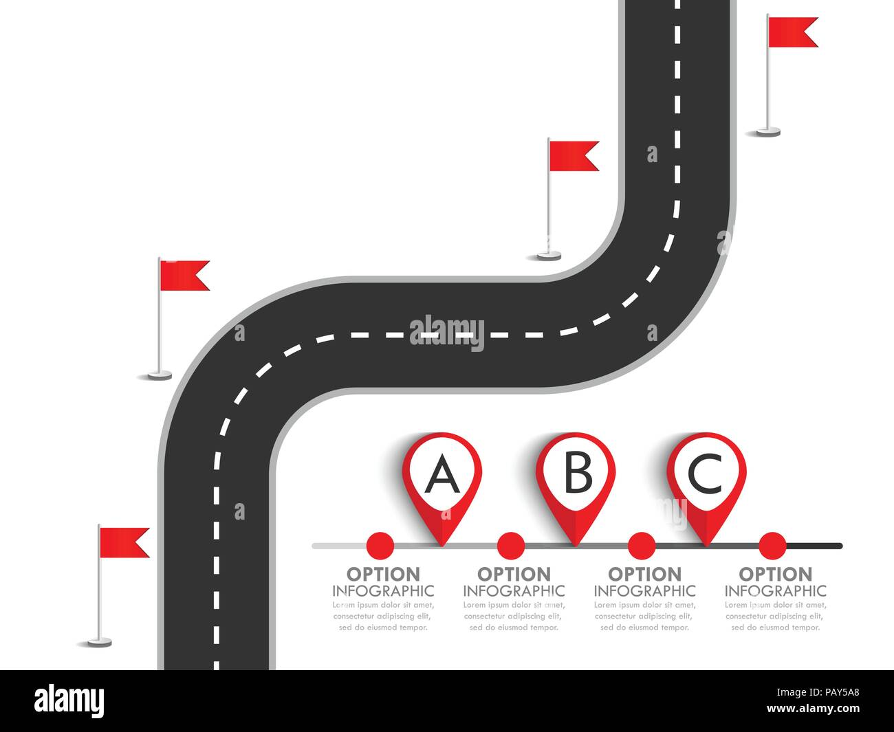 Road trip and Journey route. Business and Journey Infographic Design Template with flags and place for your data. Winding road. Vector EPS 10 - Stock Image