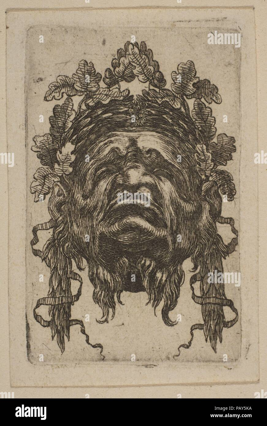 Mask. Artist: Attributed to Stefano della Bella (Italian, Florence 1610-1664 Florence). Museum: Metropolitan Museum of Art, New York, USA. Stock Photo