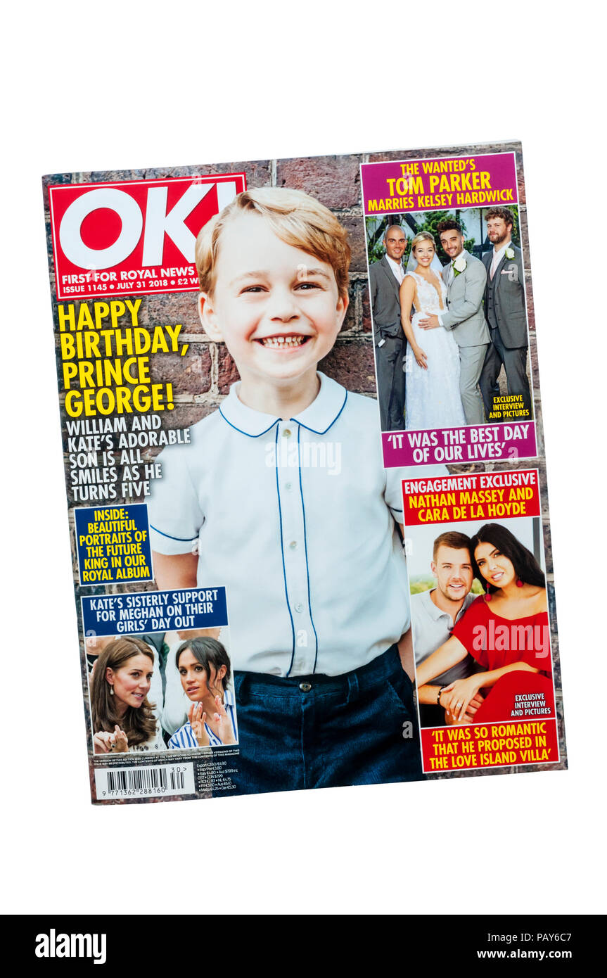 A July 2018 copy of OK! magazine. specialising in royal and celebrity news and gossip. - Stock Image