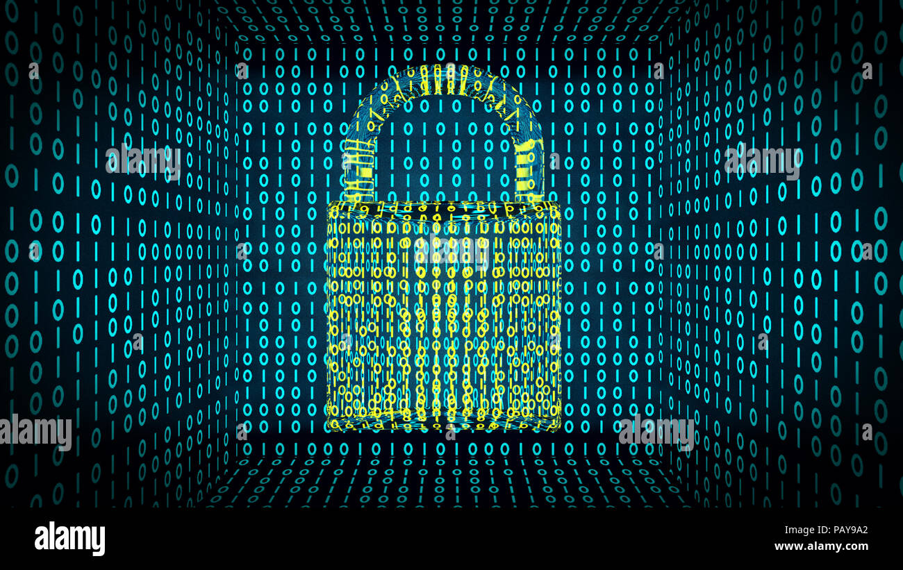 Binary lock shows digital and online security - Stock Image