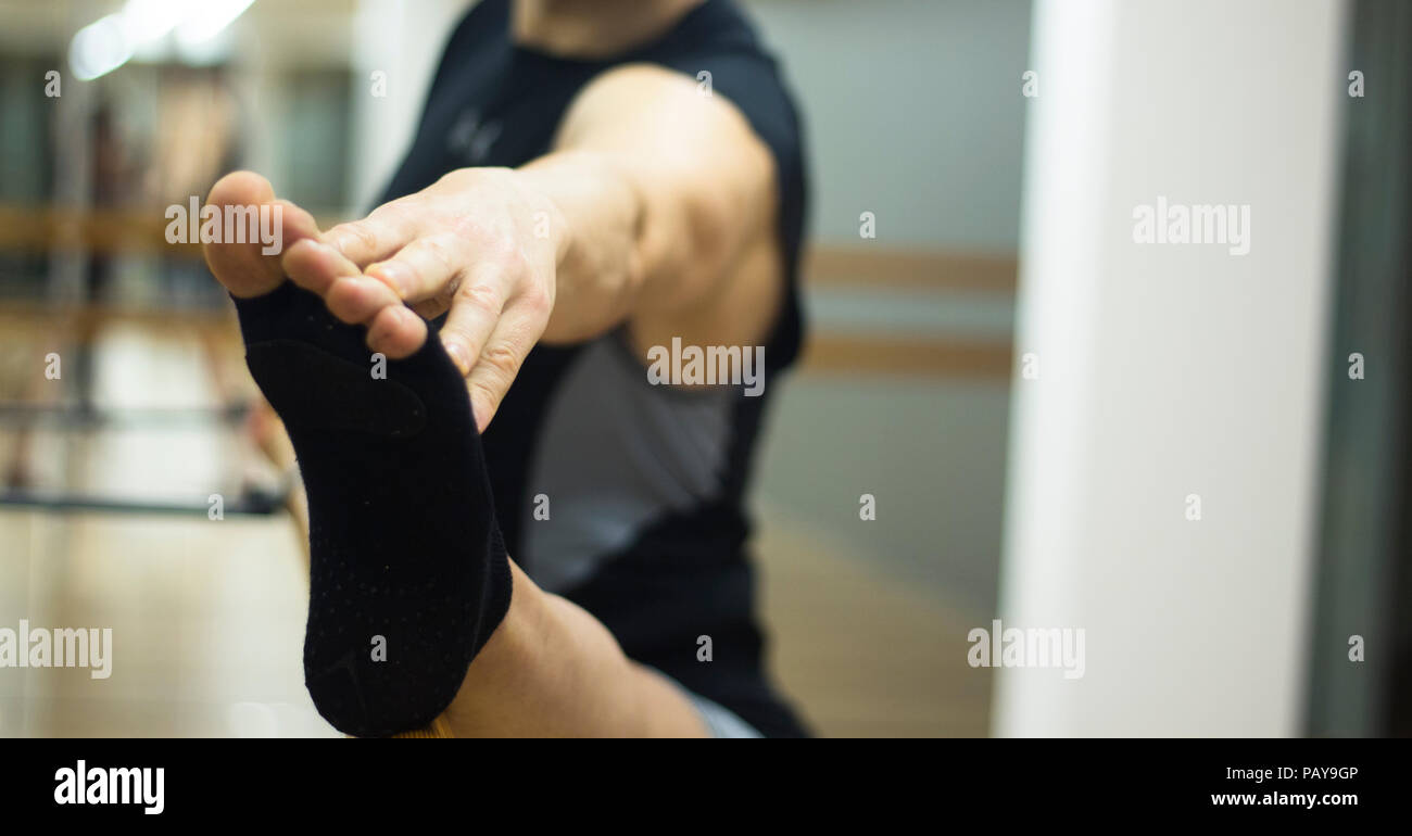 Pilates And Ballet Fitness Stretching And Yoga Studio Gym Bar Equipment And Dancer Stretching Stock Photo 213271206 Alamy