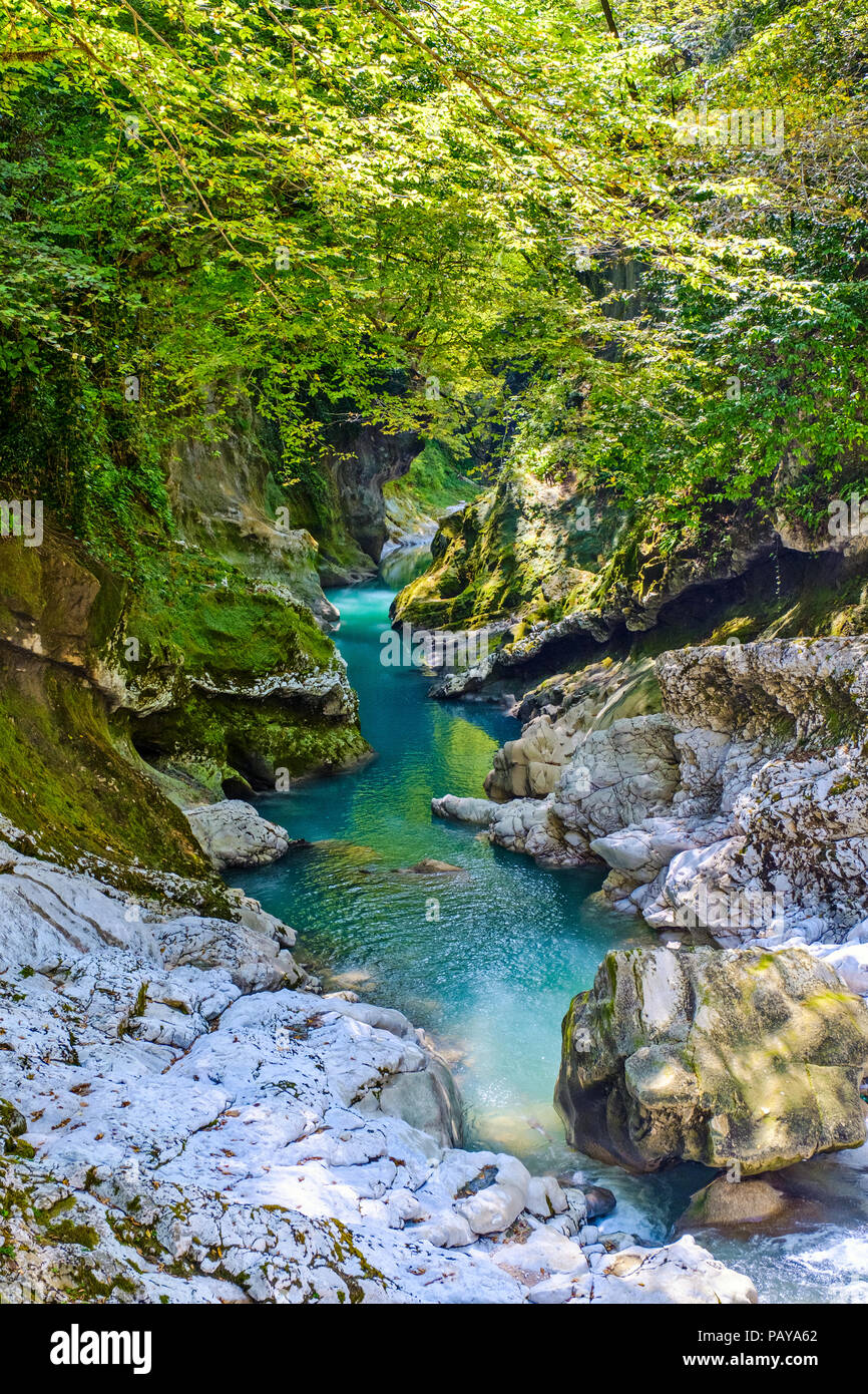 Top view to the mountain river at the Martvili Canyon, Georgia - Stock Image