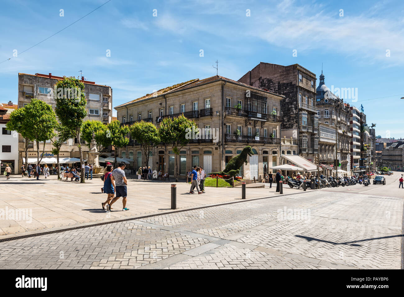Vigo, Spain - May 20, 2017: Street Life in ancient historic spanish town Vigo in Galicia, Spain. Ordinary day in a street of Vigo. - Stock Image