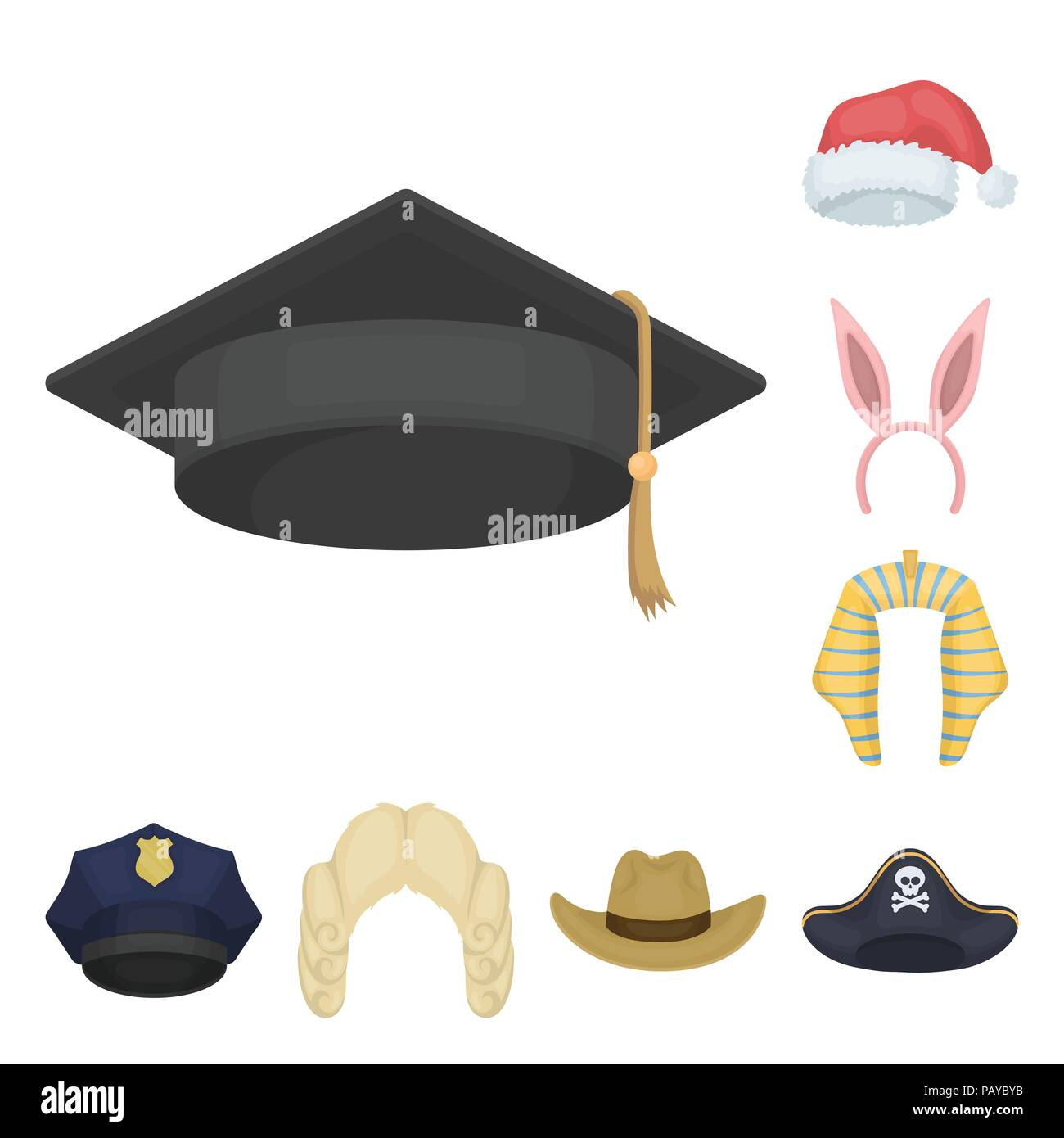 6fcf7872b5533 Different kinds of hats cartoon icons in set collection for  design.Headdress vector symbol stock illustration.
