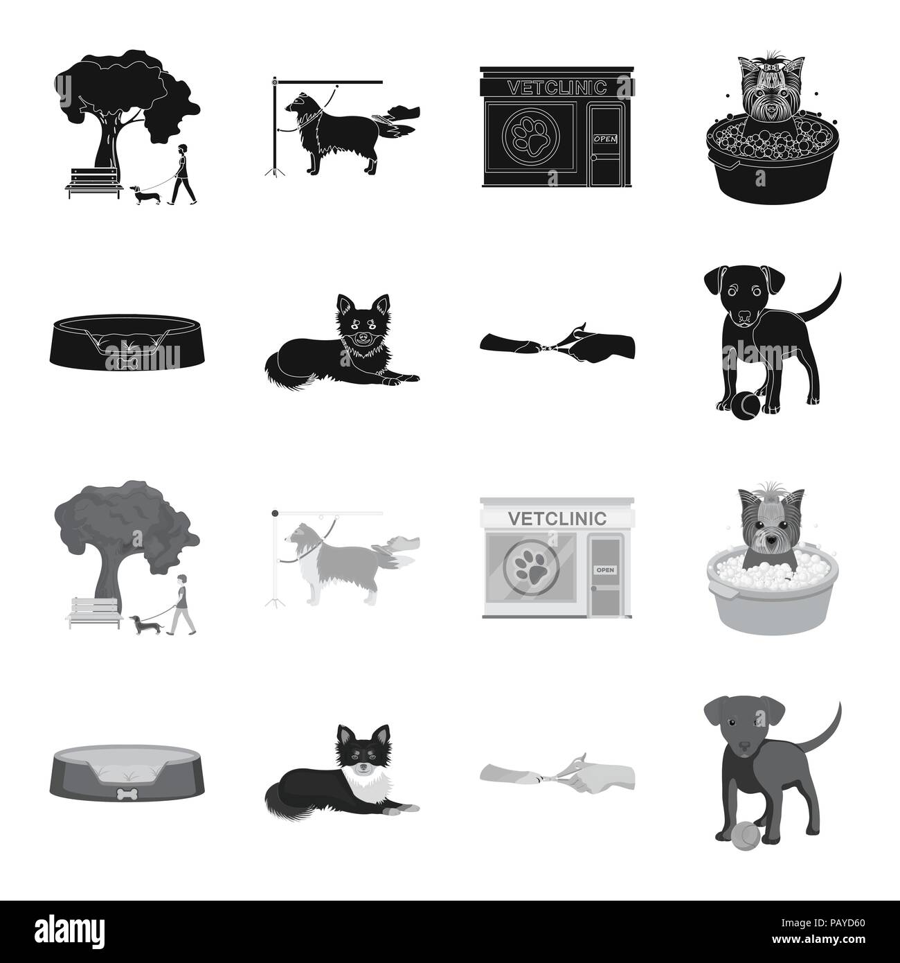 Lounger for a pet, clipping of claws in a vet clinic, lying dog, puppy with a ball. Vet clinic and pet,dog care set collection icons in black,monochro - Stock Image