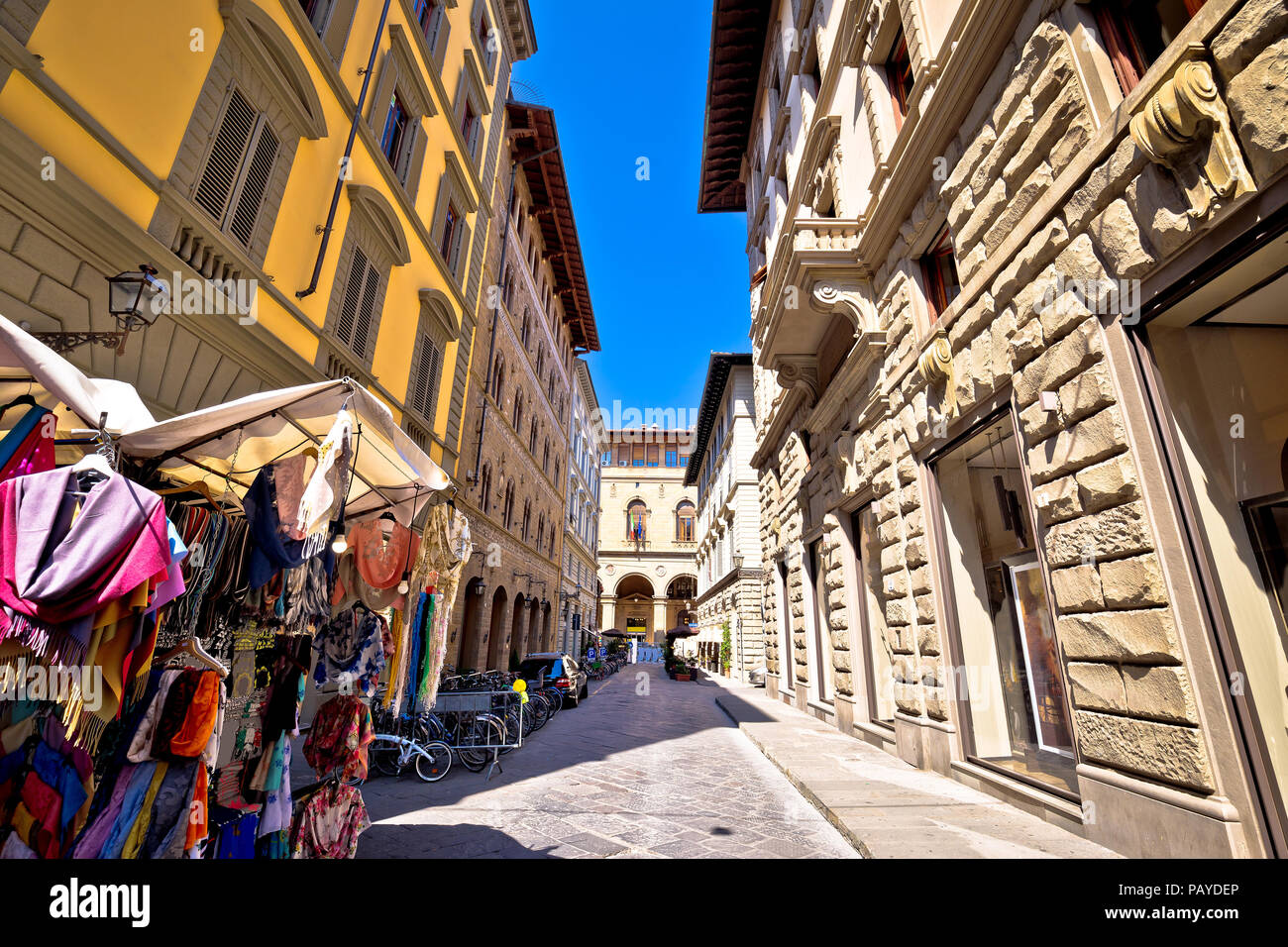 Colorful merchant street in Florence view, Tuscany region of Italy - Stock Image
