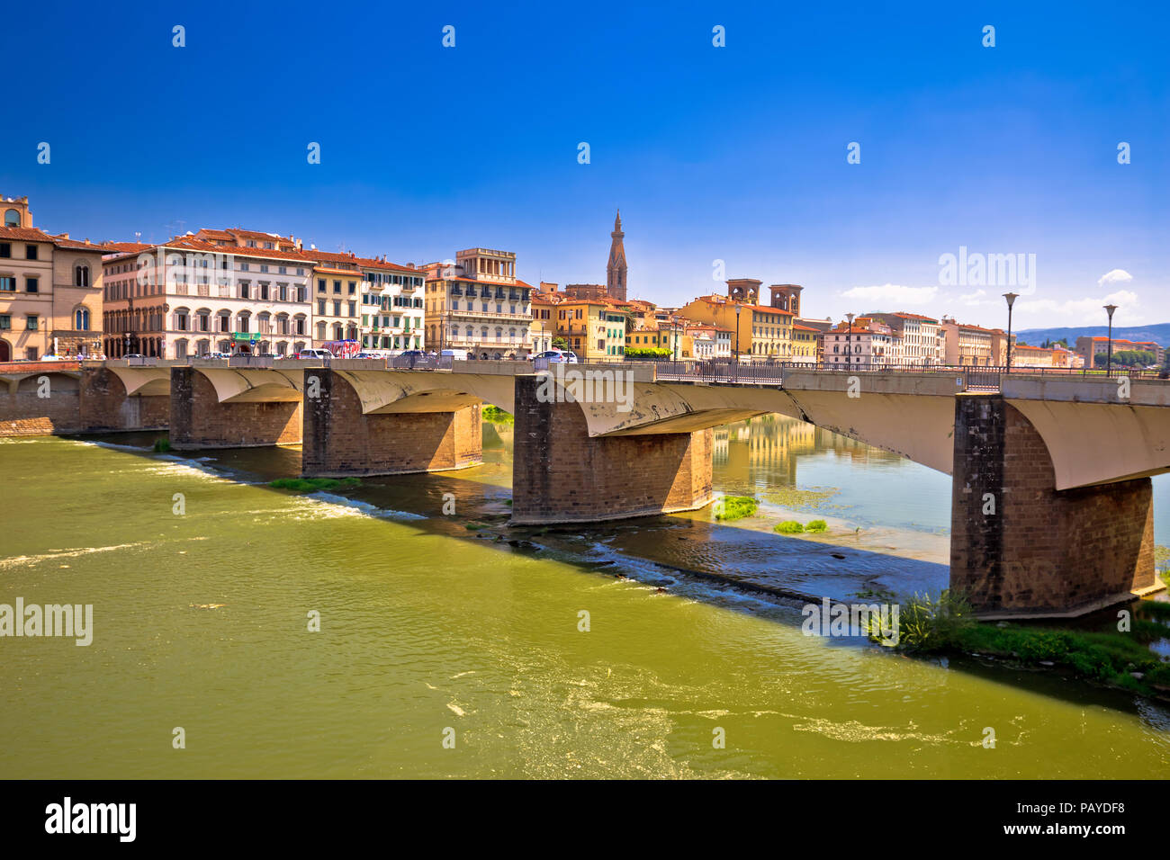 Arno river waterfront of Florence view, Tuscany region of Italy - Stock Image
