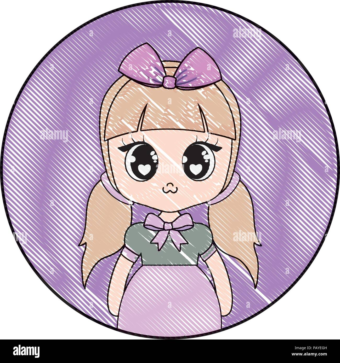 Cute Anime Girl Over Decorative Circular Frame And White Background Vector Illustration