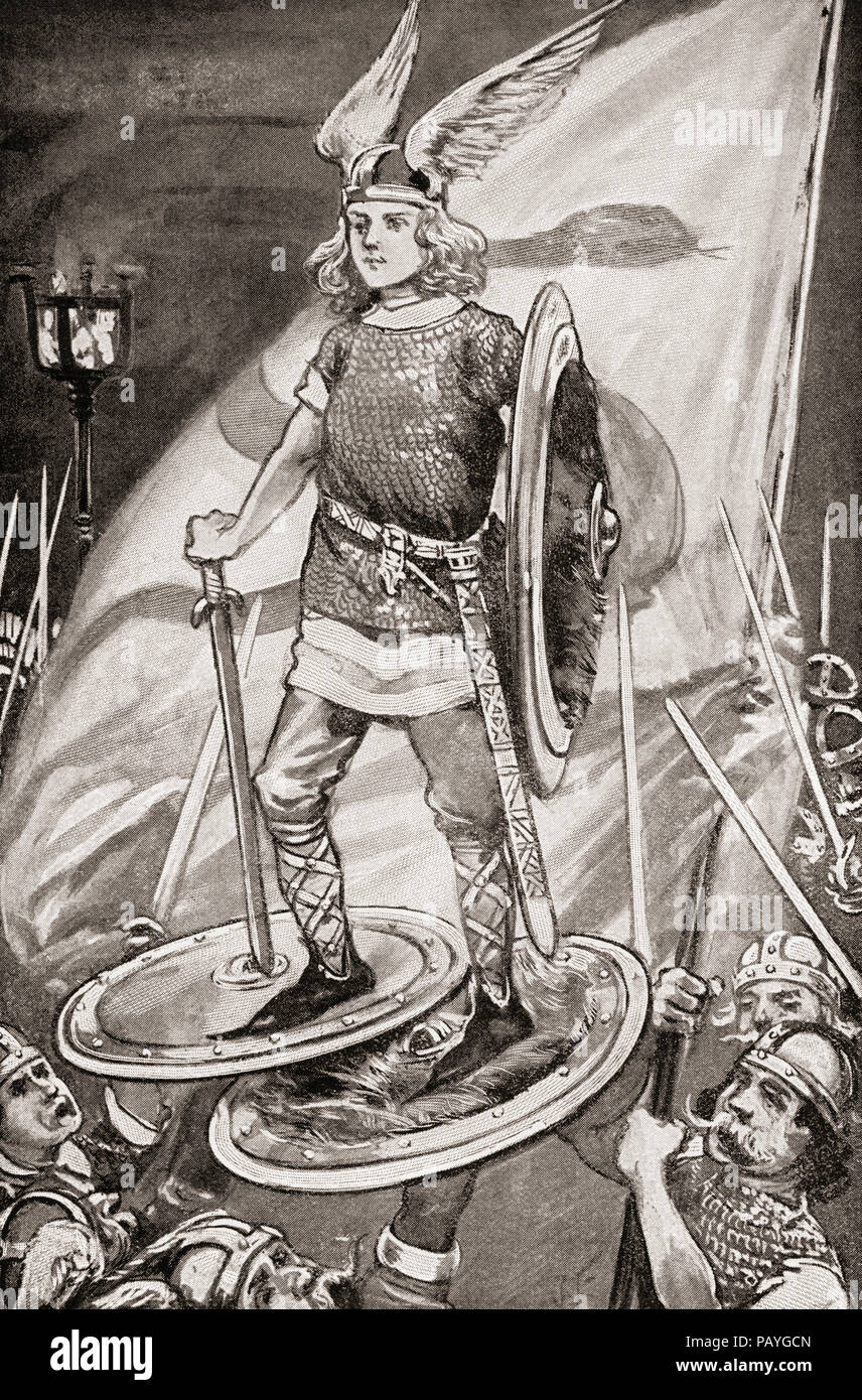 An old Viking custom was to raise the victorious captain on the shields of two warriors.  From The Book of Ships, published c.1920. - Stock Image