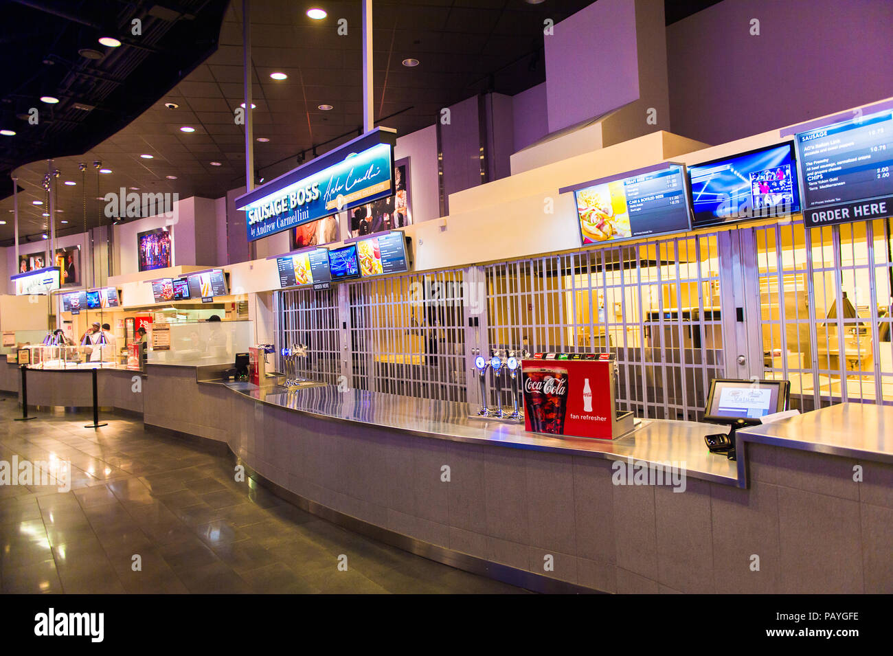 NEW YORK, USA - OCT 8, 2015: Sausage boss at the Food court at the Madison Square Garden, New York City. MSG is the arena for basketball, ice hockey,  Stock Photo