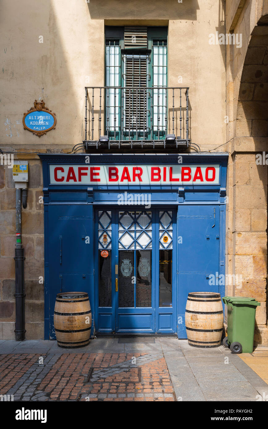 Bilbao cafe bar, side entrance of the popular Cafe Bar Bilbao in the Plaza Nueva in the Old Town (Casco Vieja) area of Bilbao, Northern Spain. - Stock Image