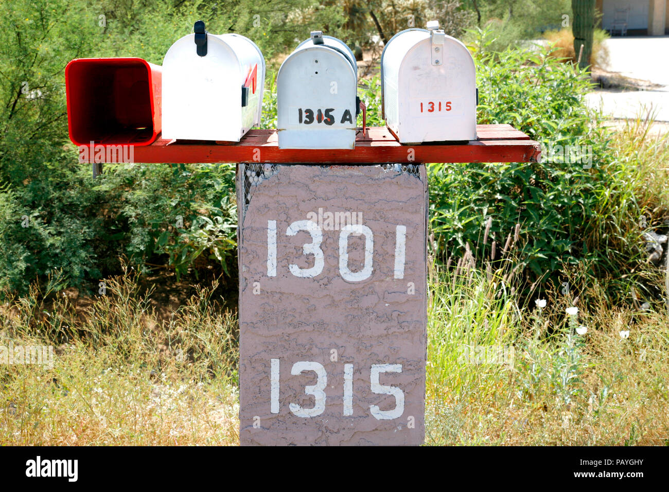 mailboxes in Tucson. USA. - Stock Image