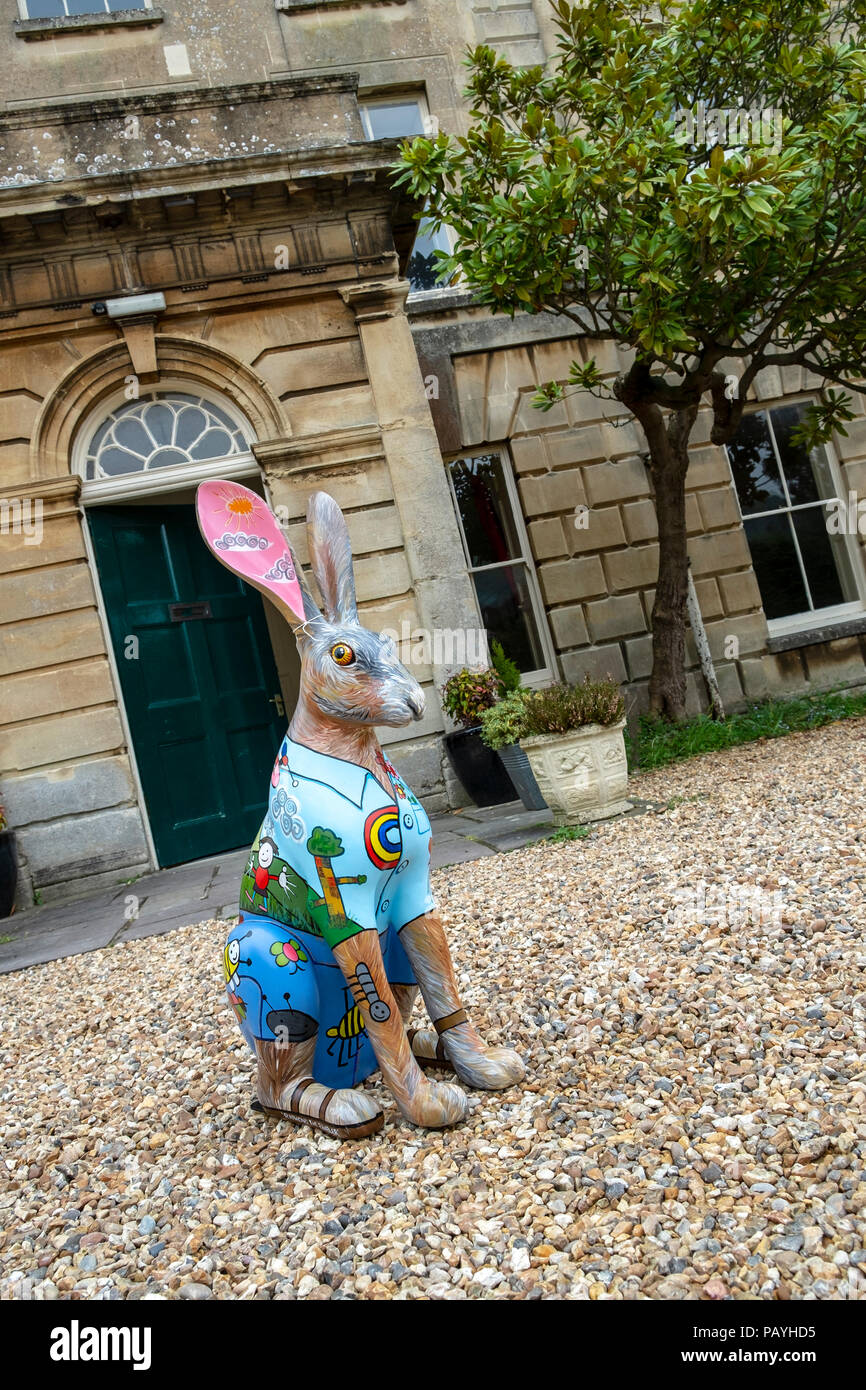 May 2018: Raymond, on the Cotswolds AONB Hare Trail 2018, is a Special Springer Hare designed by Chris King and his daughters Grace and Florence. He is sponsored by Kingshill House, an Arts and Meeting Centre housed in an historic Georgian house in the Gloucestershire town of Dursley, UK - Stock Image