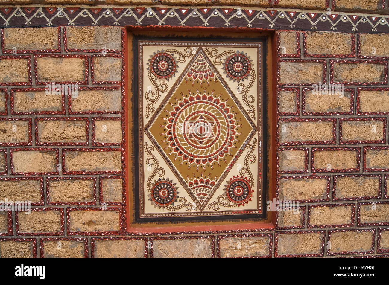 Traditional mural mud work of Gujarat - India, Clay art for wall