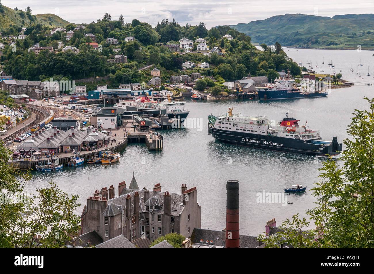 MacBrayne car ferries in Oban harbour Argyll. Scotland. Stock Photo
