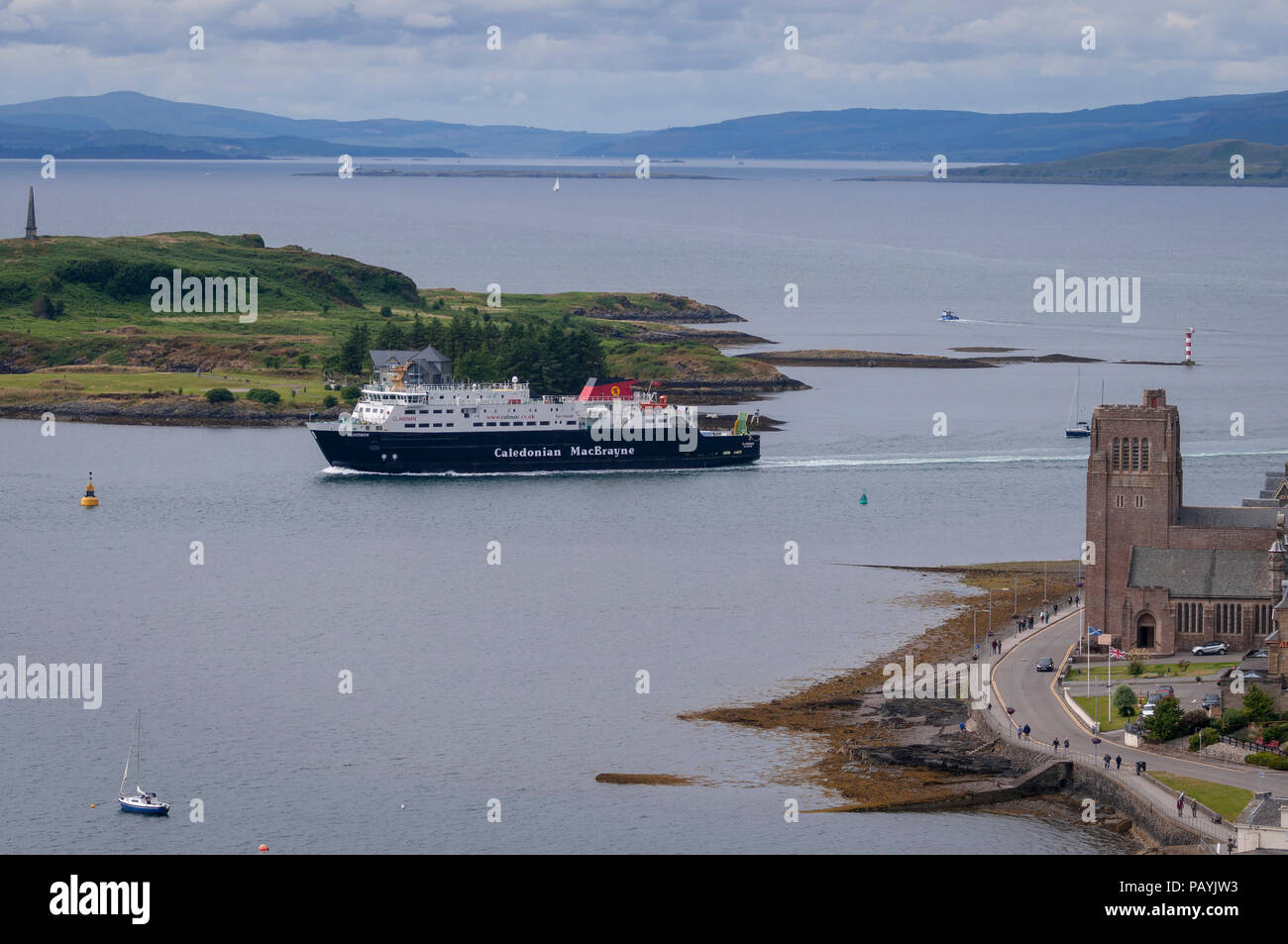 The Clansman car ferry approaching Oban harbour Argyll. Scotland. Stock Photo