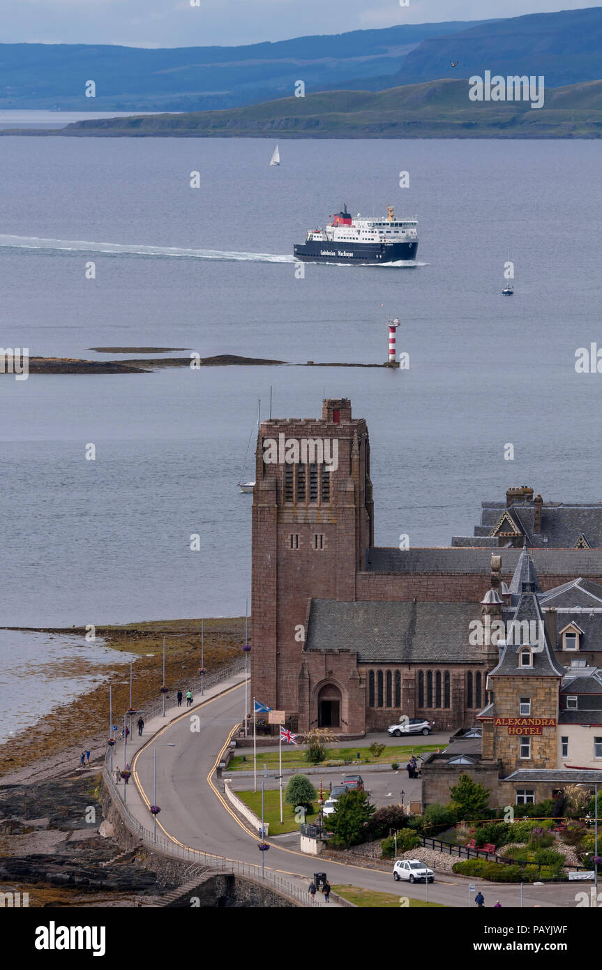 The Clansman car ferry approaching Oban harbour Argyll. Scotland. Stock Photo