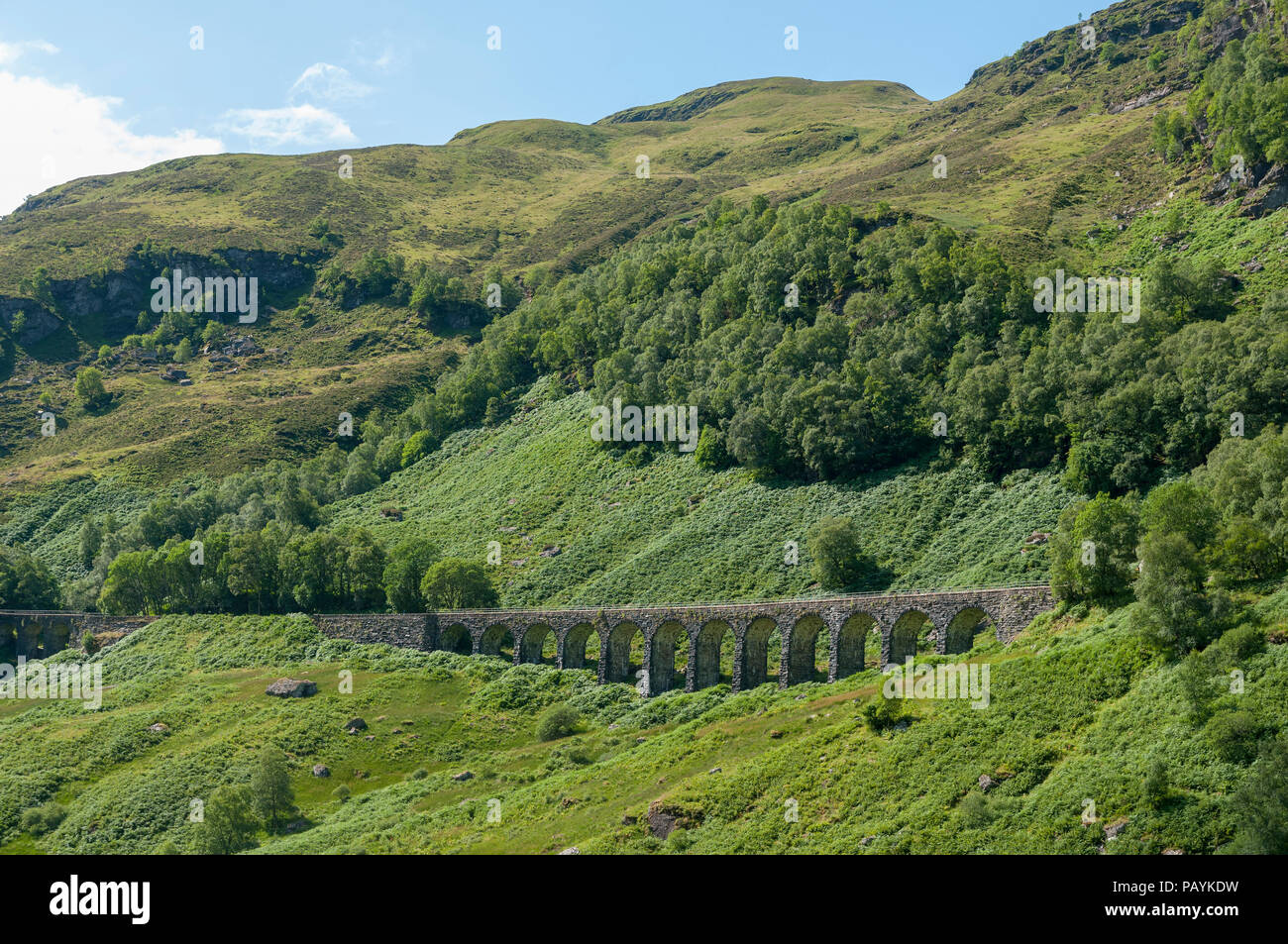 Former railway line viaduct now a walkers path in Glen Ogle.The Glen Ogle rail trail. Perthshire. Scotland. - Stock Image