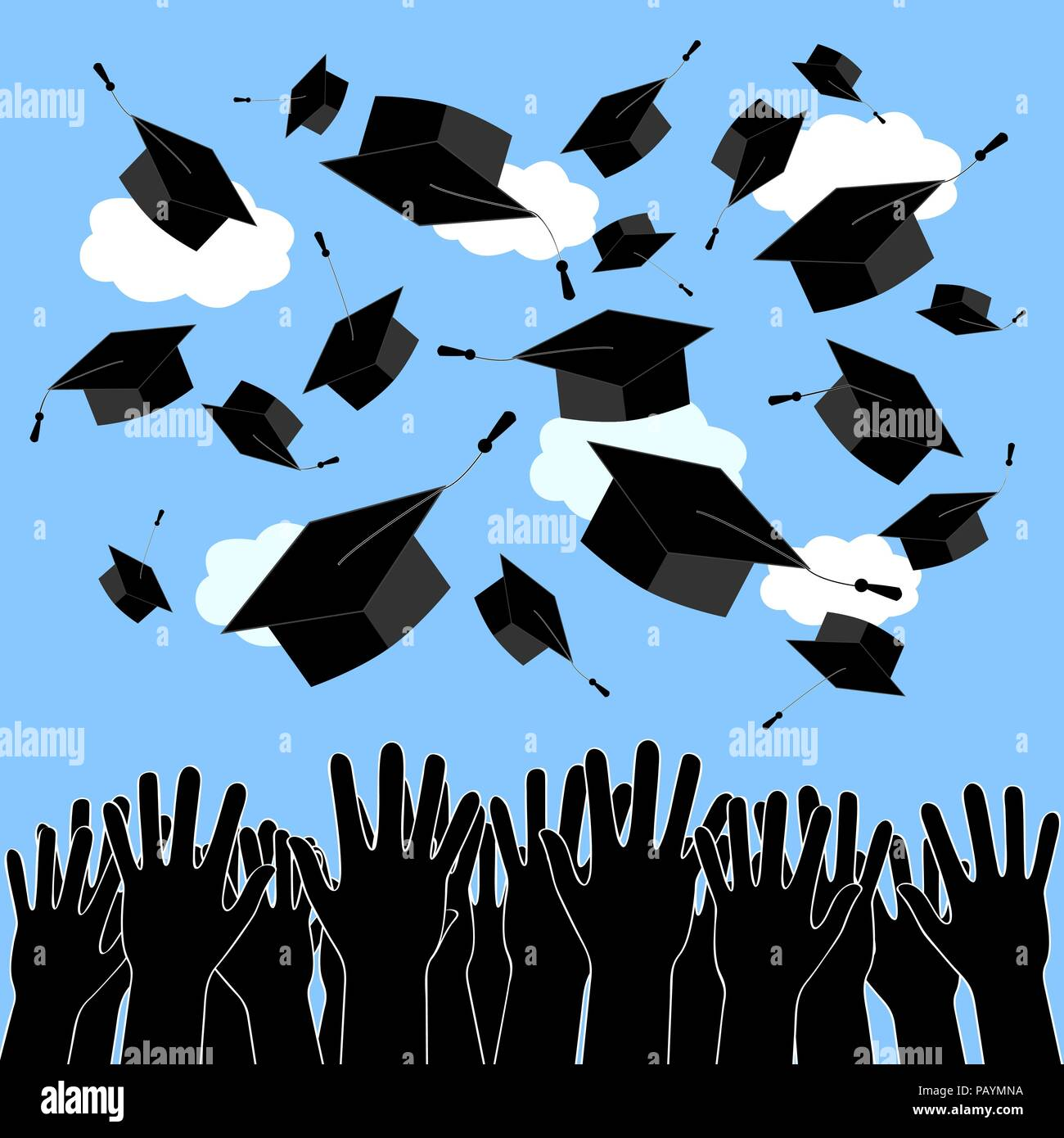 graduate hands silhouettes throwing up graduation hats graduation