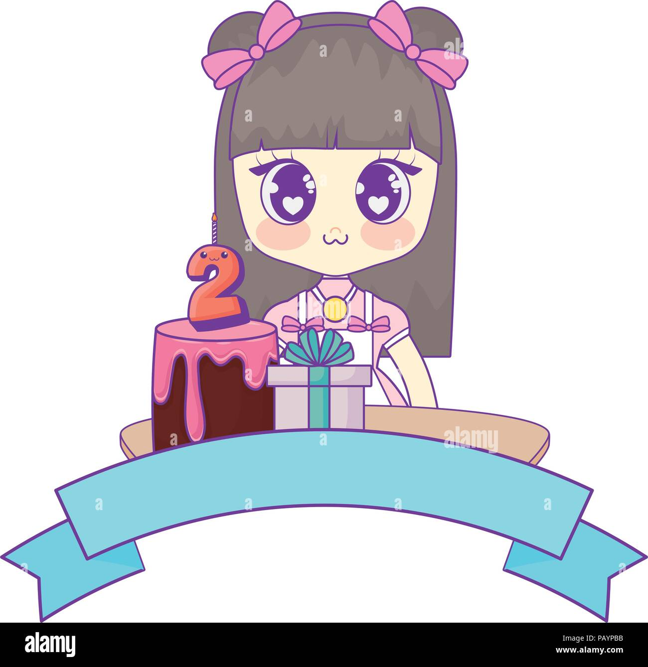 Anime Girl With Birthday Cake And Decorative Ribbon Over White