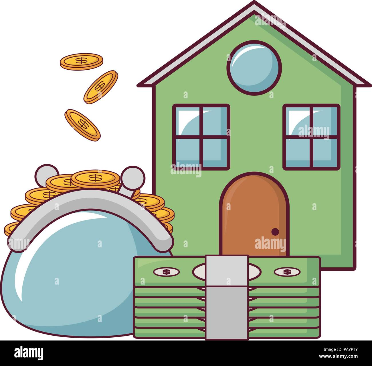 house with purse with coins and bills icon over white background, vector illustration Stock Vector