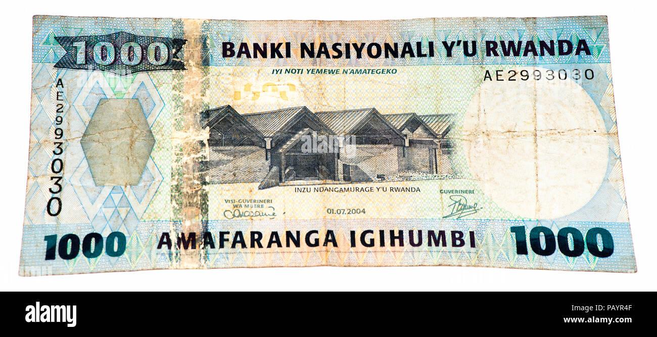 1000 Rwandan francs of Rwanda. Rwandan francs is the national currency of Rwanda - Stock Image