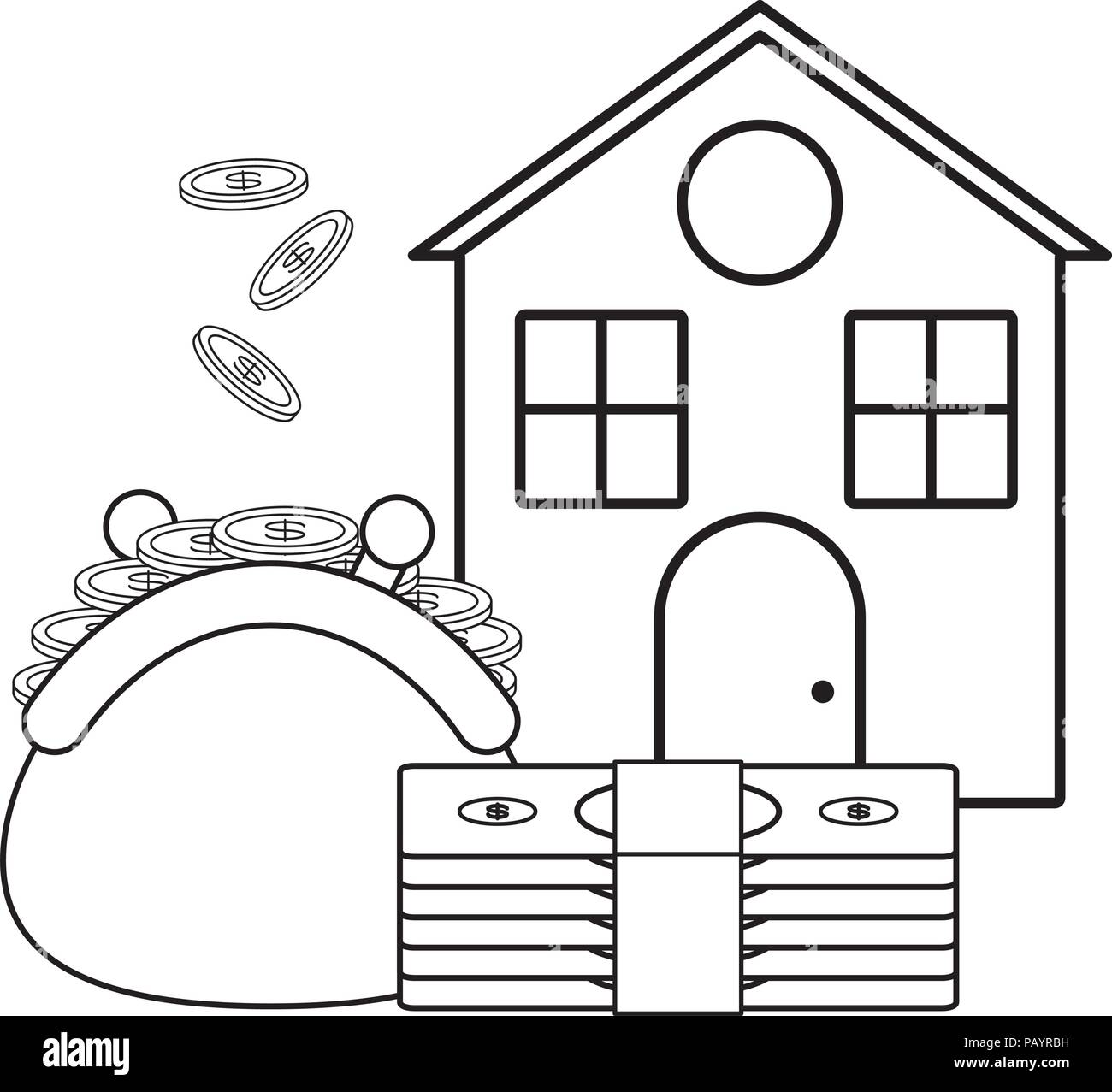 house with purse with coins and bills icon over white background, vector illustration - Stock Image