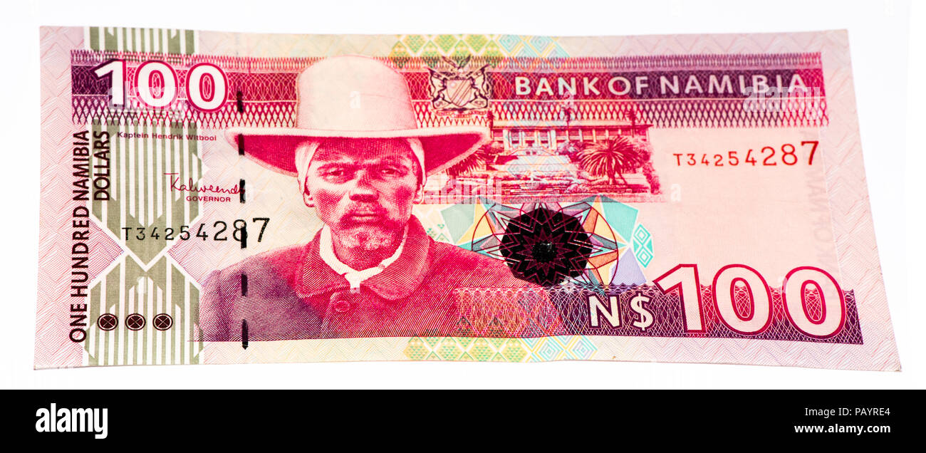 100 Namibian dollars bank note of Namibia. Namibian dollars is the national currency of Namibia - Stock Image