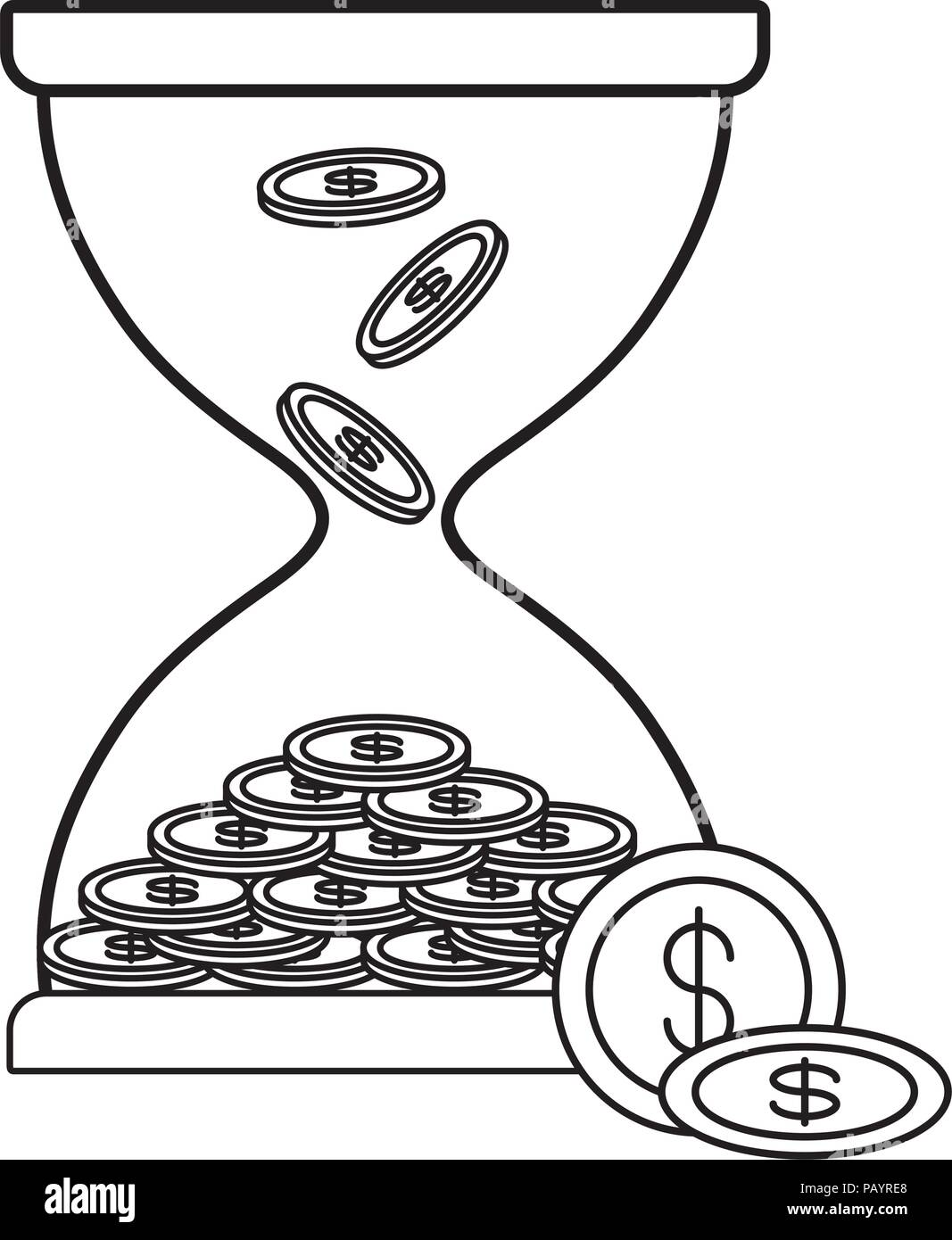 Hourglass moneybox with coins icon over white background, vector illustration - Stock Image