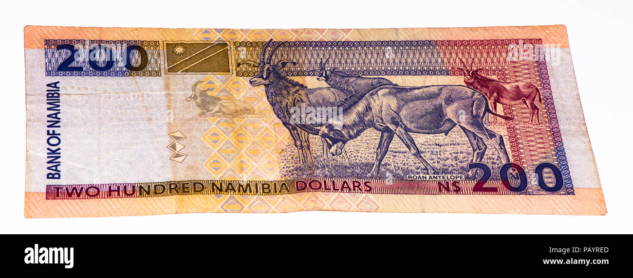 200 Namibian dollars bank note of Namibia. Namibian dollars is the national currency of Namibia - Stock Image