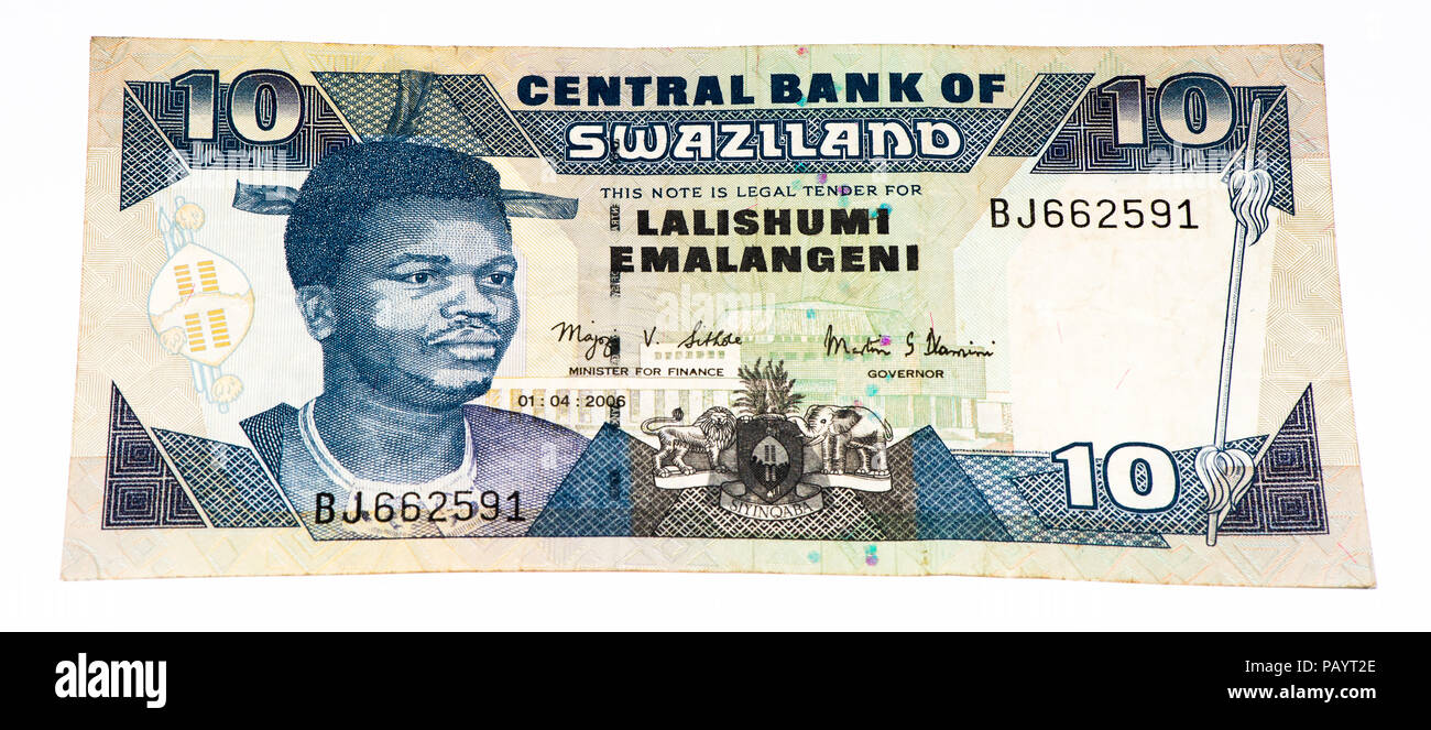 10 Swazi emalangeni bank note. Swazi emalangeni is the currency of Swaziland Stock Photo