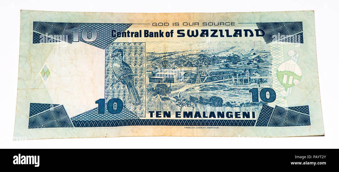 10 Swazi emalangeni bank note. Swazi emalangeni is the currency of Swaziland Stock Photo