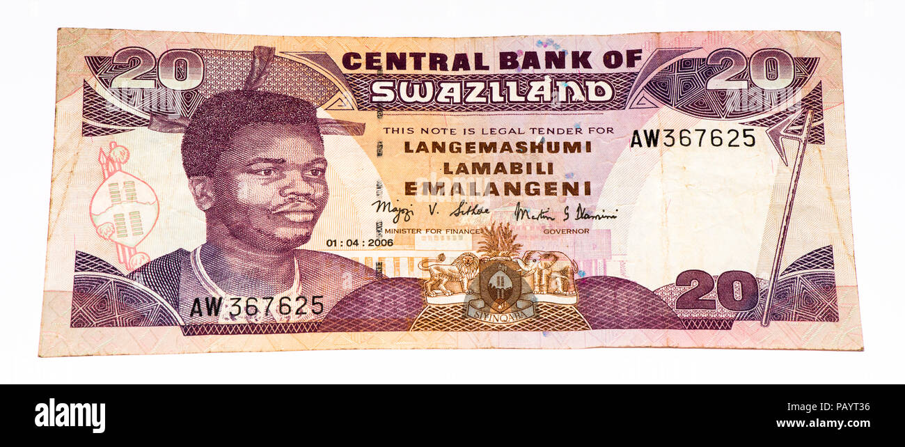 20 Swazi emalangeni bank note. Swazi emalangeni is the currency of Swaziland Stock Photo