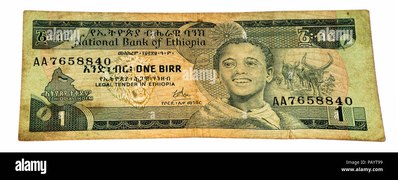 1 Ethiopian birr bank note. Birr is the national currency of Ethiopia - Stock Image