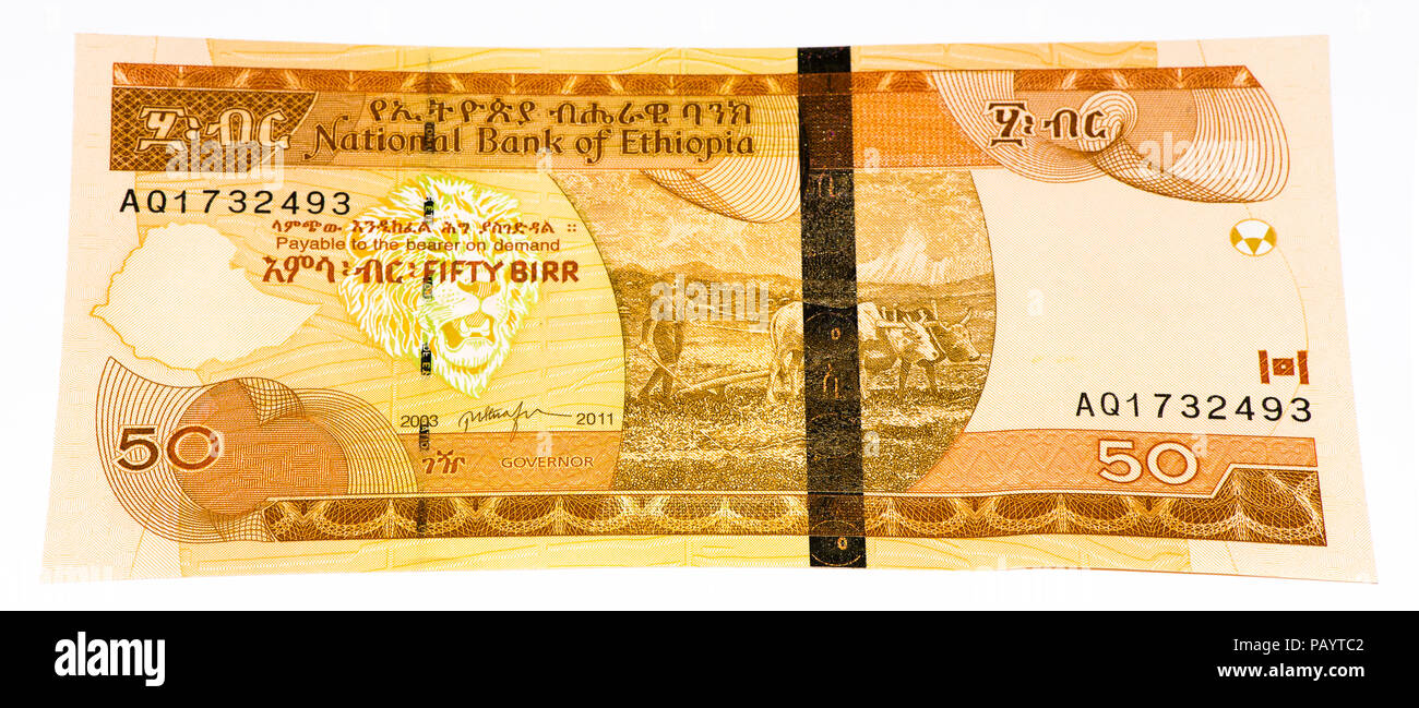 50 Ethiopian birr bank note. Birr is the national currency of Ethiopia - Stock Image